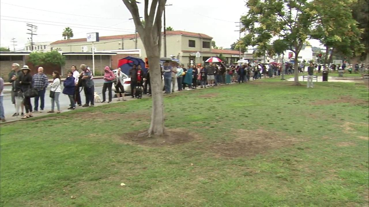 Los Angeles-area voters who were hoping to get an early start on voting were stunned to see long lines at polling stations this weekend that resulted in some cases of waits of two to three hours.