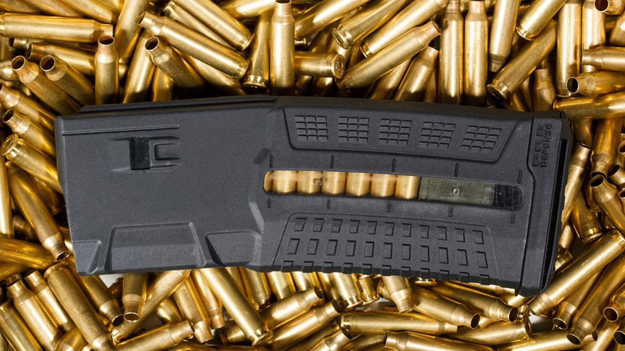 A gun magazine in a bed of bullets is shown in a file photo.