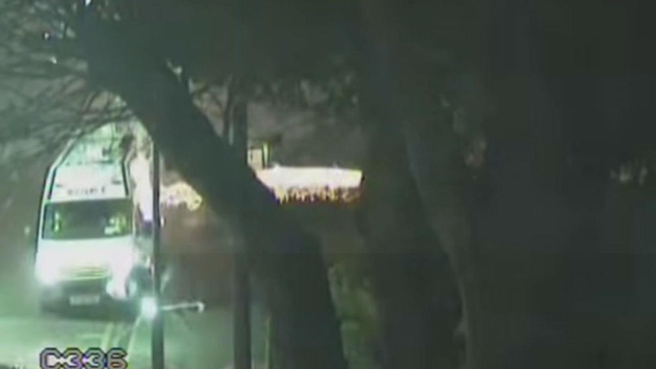 A frightening fireworks attack on police officers in England was caught on video.