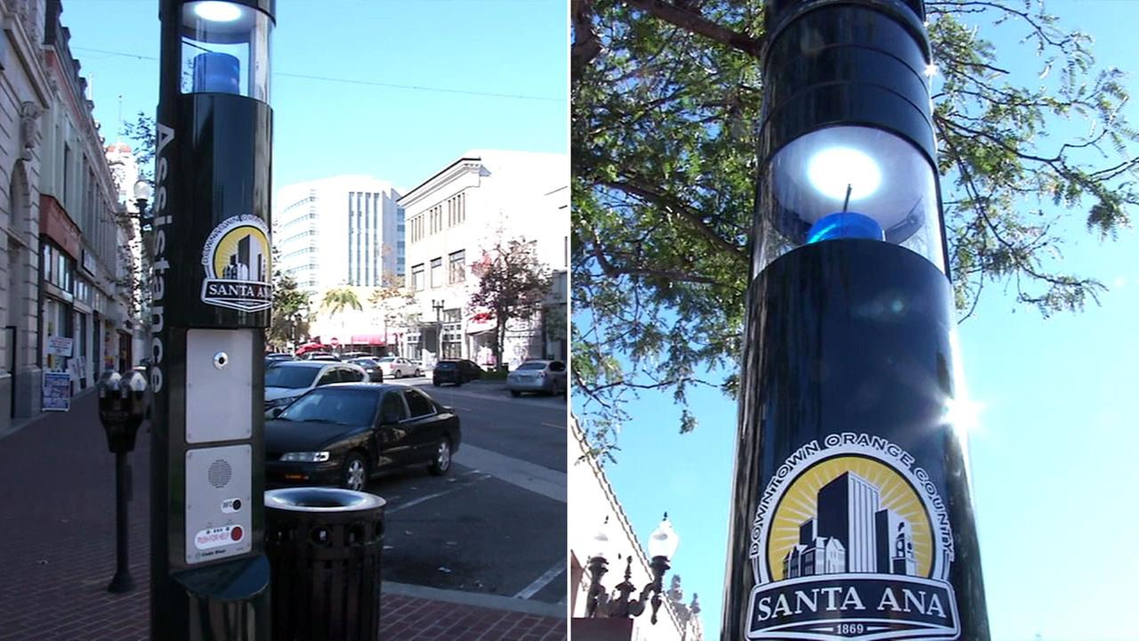 New code blue surveillance poles offer the Santa Ana Police Department a new tool in combating crime in downtown Santa Ana.