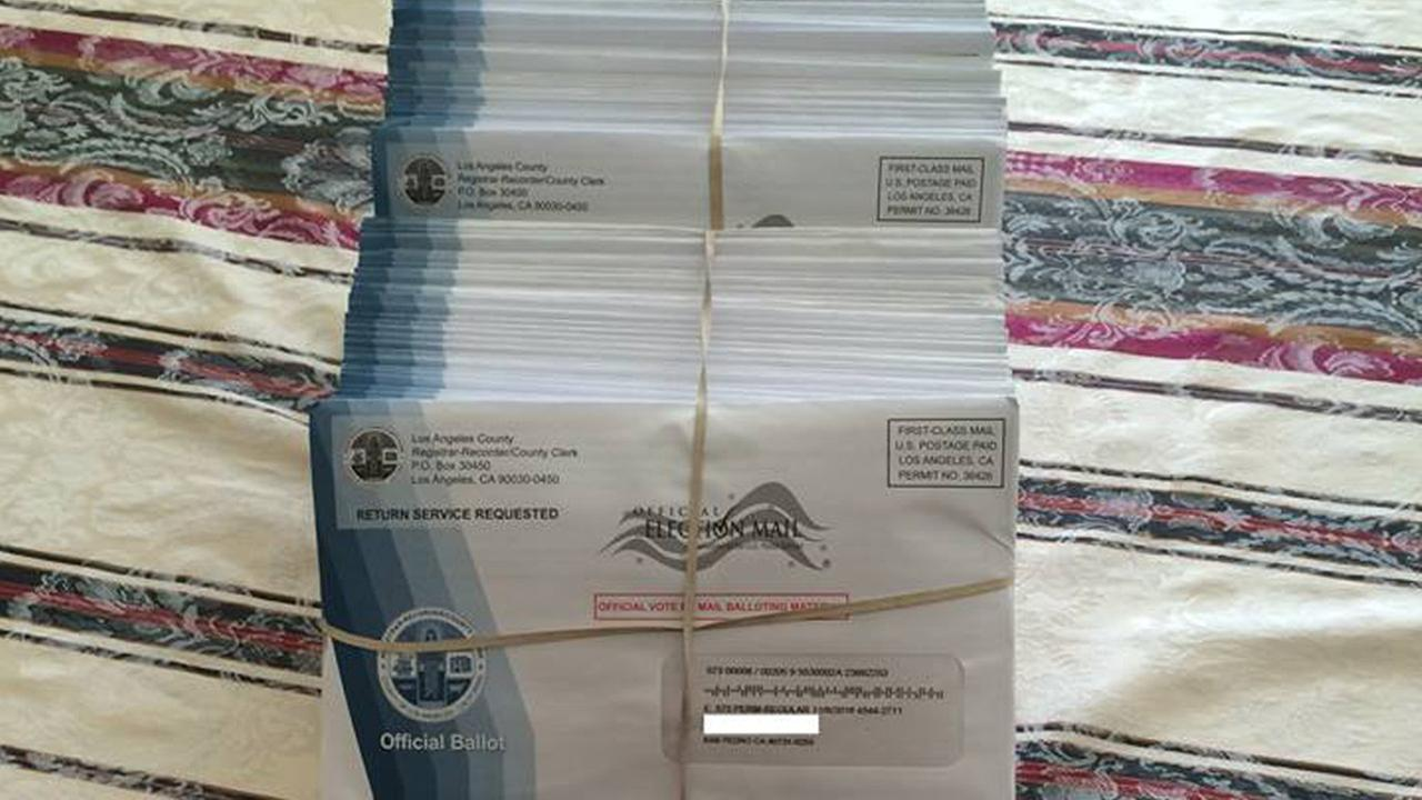 Jerry Mosna told ABC7 he found dozens of ballots outside his San Pedro home on Saturday, Oct. 29, 2016.