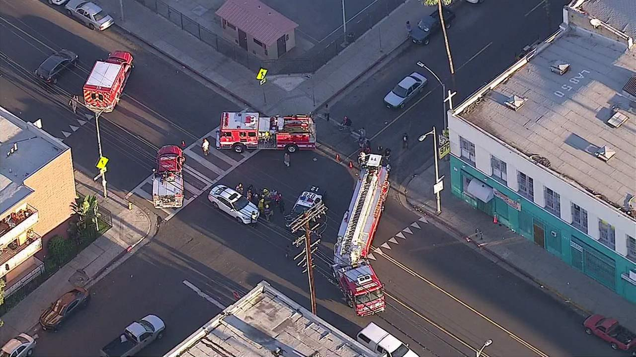 Fire engines arrive at the scene of a crash involving pedestrians in the Westlake District on Friday, Nov. 4, 2016.