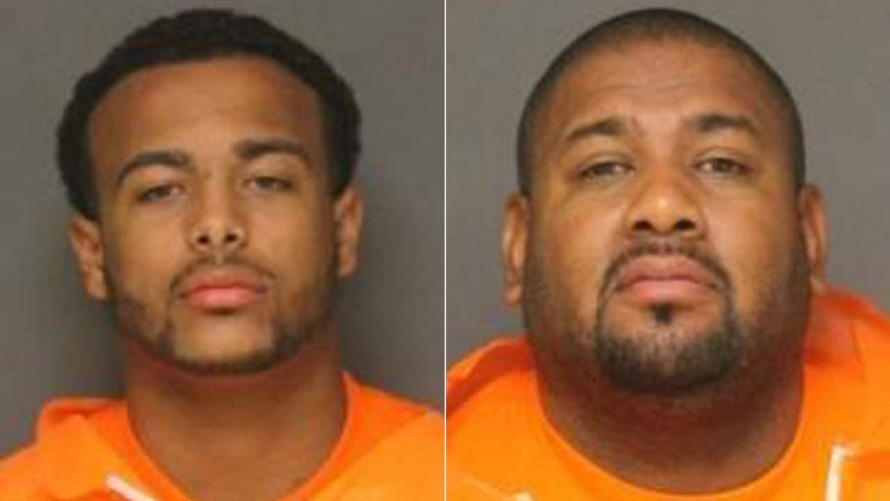 Zacharay Simmons, 20, left, and Andre Evans, 39, right, are seen in booking photos provided by the Fullerton Police Department.