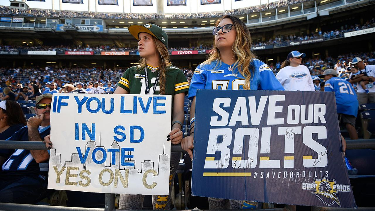 Fans hold signs in support of Measure C to help fund a new stadium for the San Diego Chargers at a game on Sunday, Nov. 6, 2016.
