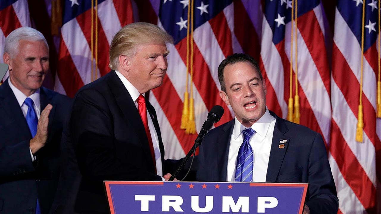 Reince Priebus, Chair of the Republican National Committee, speaks as President-elect Trump gives his acceptance speech Wednesday, Nov. 9, 2016, in New York.