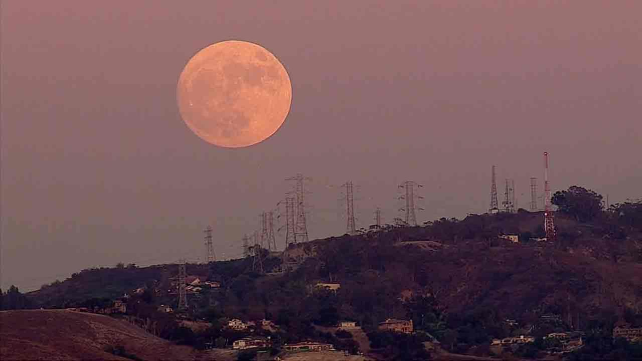 A shot captured by AIR7HD of a rare supermoon above Los Angeles on Sunday, Nov. 13, 2016.