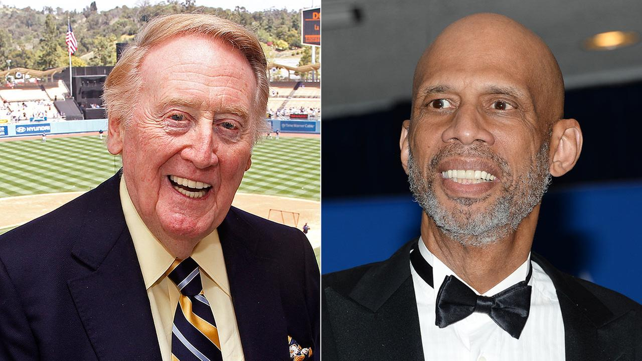 (L) Vin Scully poses in the press box on April 15, 2012. (R) Kareem Abdul-Jabbar at the White House Correspondents Association Dinner on May 3, 2014, in Washington.