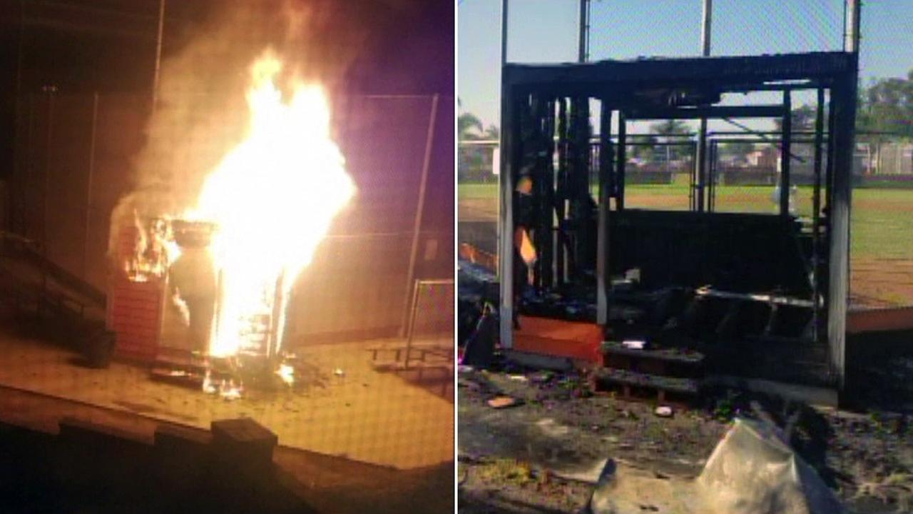 Authorities were searching for an arson suspect who torched a score booth at a little league ballpark in Huntington Beach on Sunday, Nov. 13, 2016.