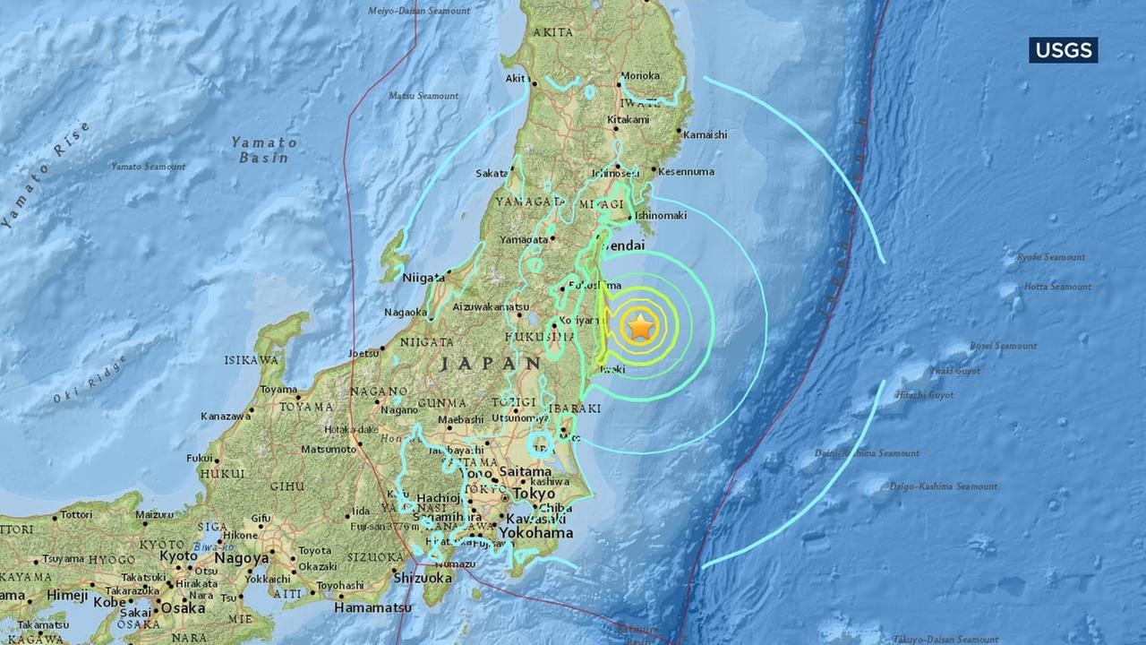 This map from the U.S. Geological Survey shows the location of an earthquake with a preliminary magnitude of 7.3 that struck off Fukushima prefecture in Japan.