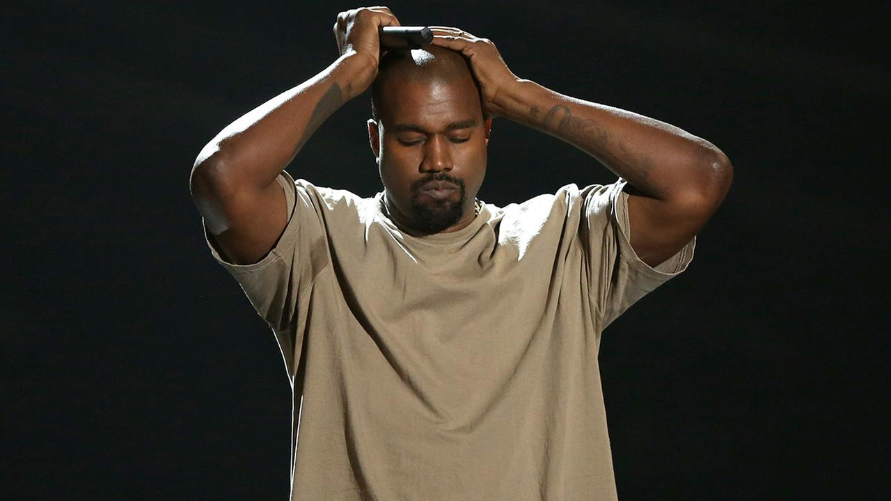 Kanye West reacts as he accepts the video vanguard award at the MTV Video Music Awards at the Microsoft Theater on Sunday, Aug. 30, 2015, in Los Angeles.