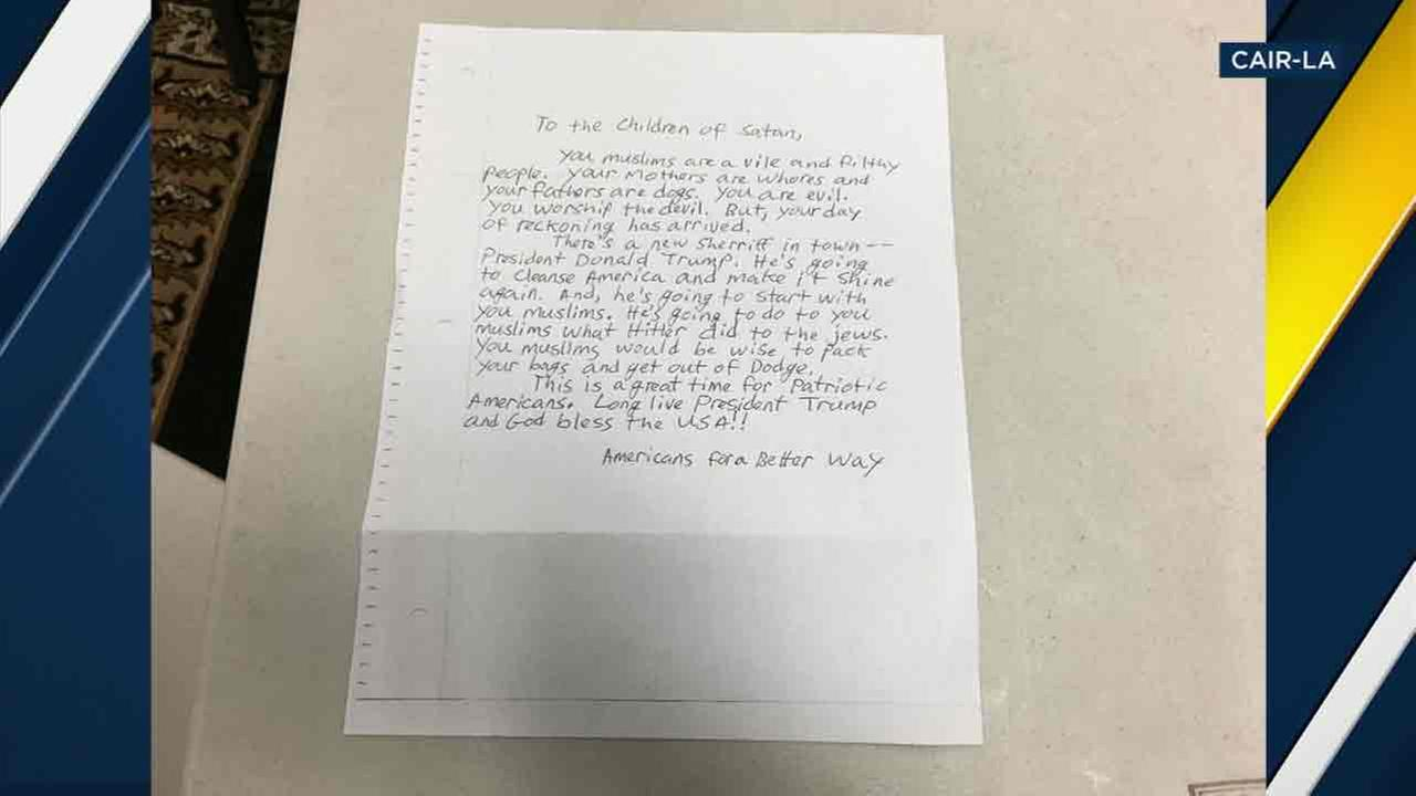 A hate letter addressed to Children of Satan, which was sent to three California mosques, including two in Long Beach and Claremont.