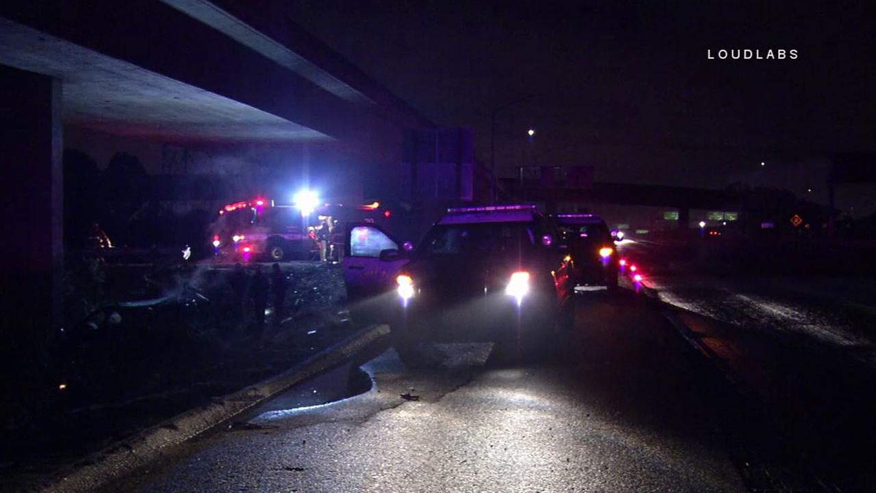 Authorities investigated the scene of a fatal single-car crash that left four dead in Gardena in the early morning hours of Sunday, Nov. 27, 2016.