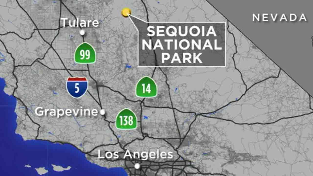 A map shows the location of Sequoia National Park, where a 41-year-old Arizona man went missing Wednesday, Nov. 23, 2016.