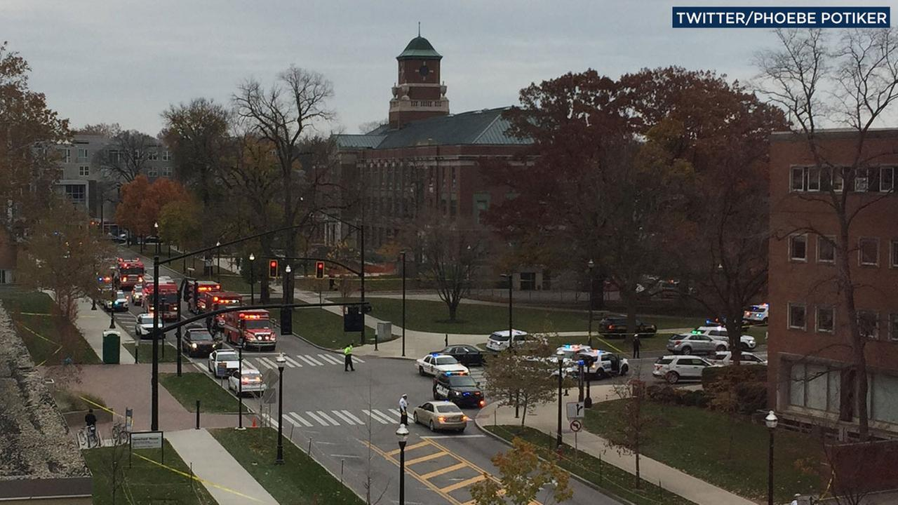 A witness captures several ambulances and fire trucks at Ohio State University after the campus issued an alert of an active shooter on campus on Monday, Nov. 28, 2016.