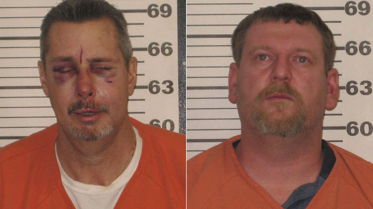 Two KKK leaders were arrested in connection with a stabbing in North Carolina: William E. Hagen, 50, (left); and Christopher E. Barker, 37, (right).