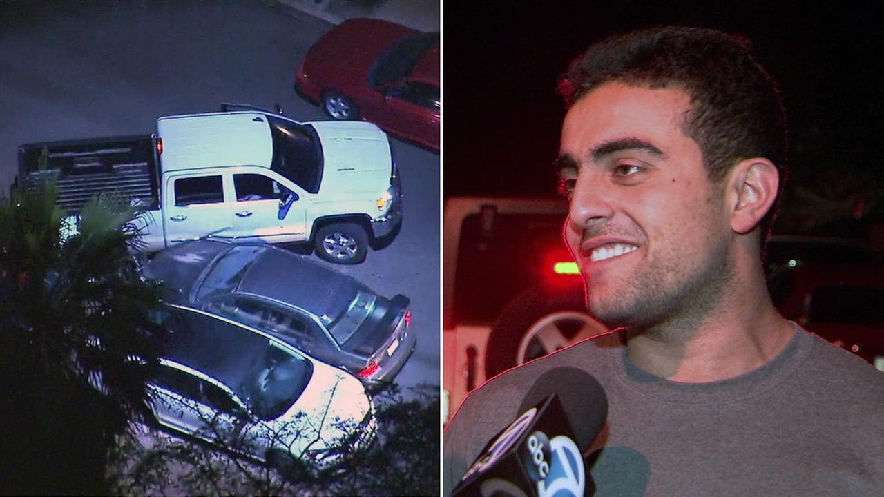 A Good Samaritan used his truck to help bring a wild police chase to an end in Tujunga on Tuesday, Dec. 6, 2016.