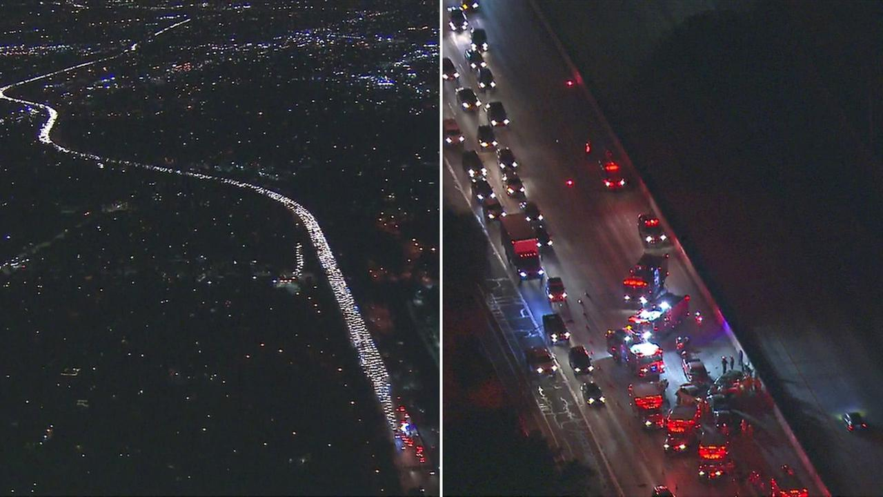 A multi-car crash snarled traffic on the 170 Freeway in North Hollywood on Thursday, Dec. 8, 2016.