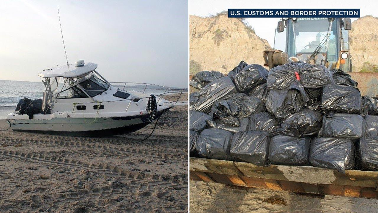 The U.S. Border Patrol said nearly 2,400 pounds of marijuana was found on an abandoned boat at Calafia State park near San Clemente, Calif., on Monday, Dec. 5, 2016.
