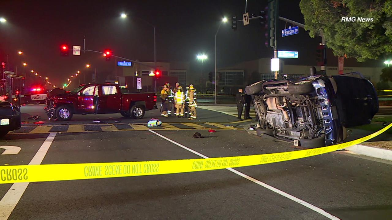 Firefighters responded to an intersection in Downey after a two-vehicle collision on Saturday, Dec. 10, 2016.