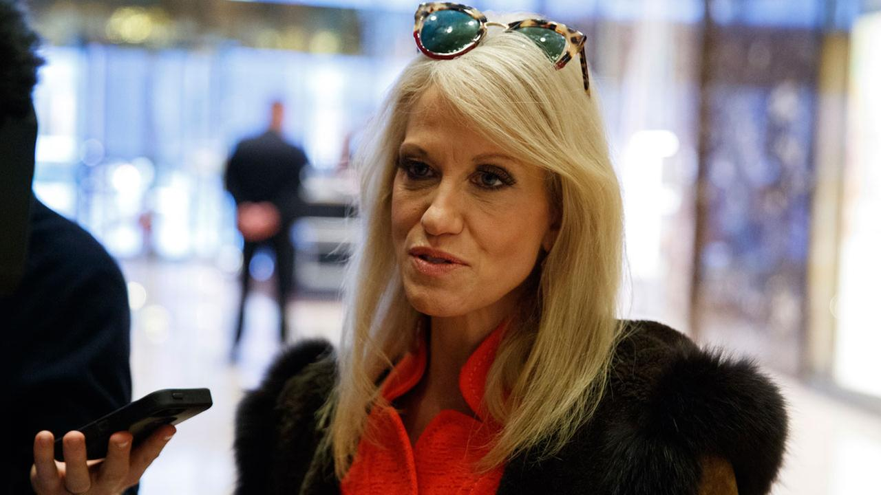 Kellyanne Conway, campaign manager for President-elect Donald Trump, talks to reporters at Trump Tower, Sunday, Dec. 4, 2016, in New York.