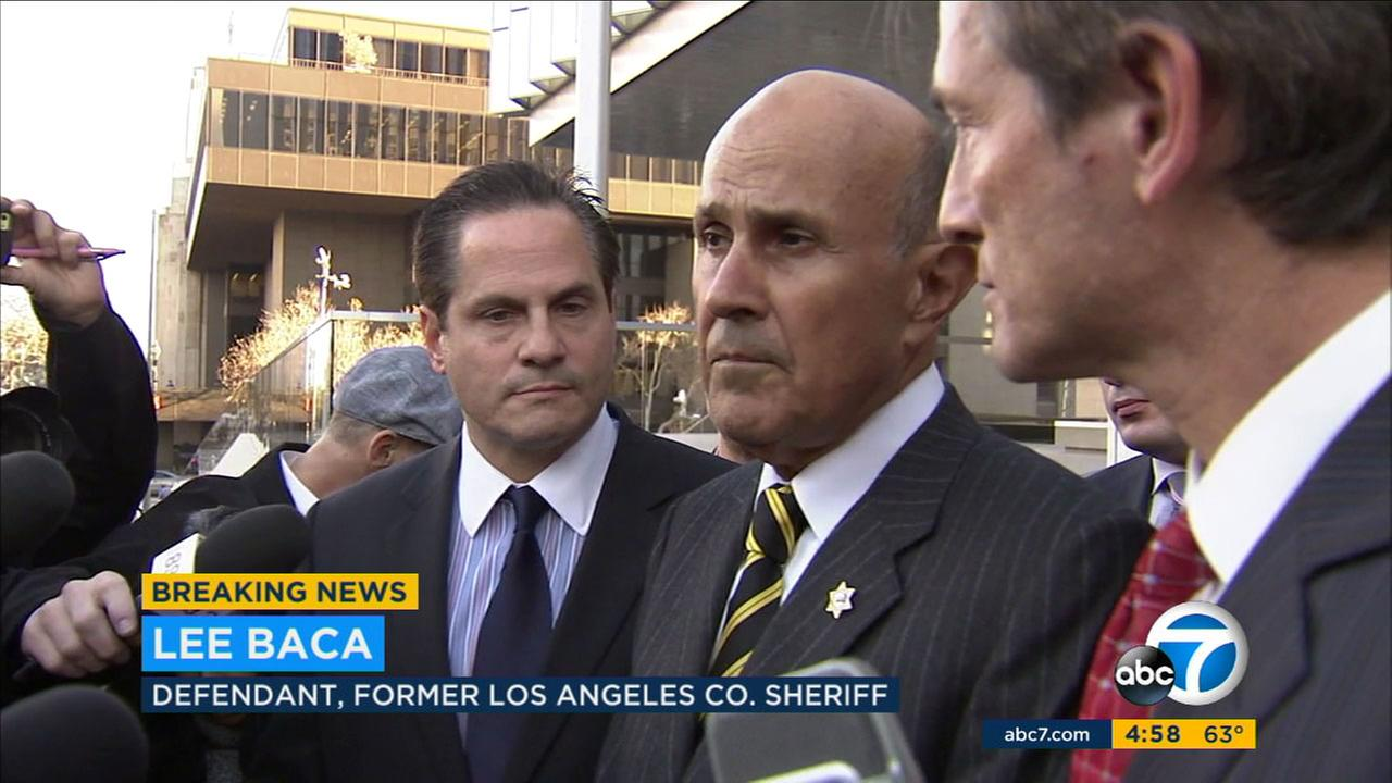 Former Los Angeles County Sheriff Lee Baca speaks after his public corruption case was declared a mistrial because of a hung jury on Thursday, Dec. 22, 2016.
