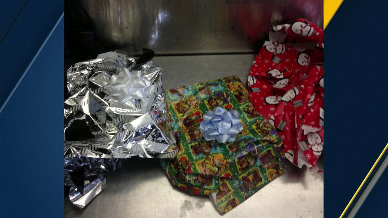 A photo shows heroin wrapped in Christmas wrapping at Los Angeles International Airport on Dec. 10, 2016.