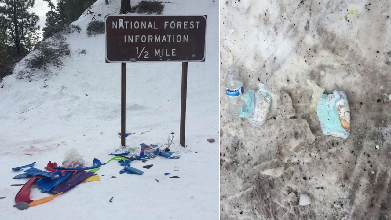 An Eyewitness News viewer submitted photos of trash and a dirty diaper left behind by visitors in Wrightwood during snow days.