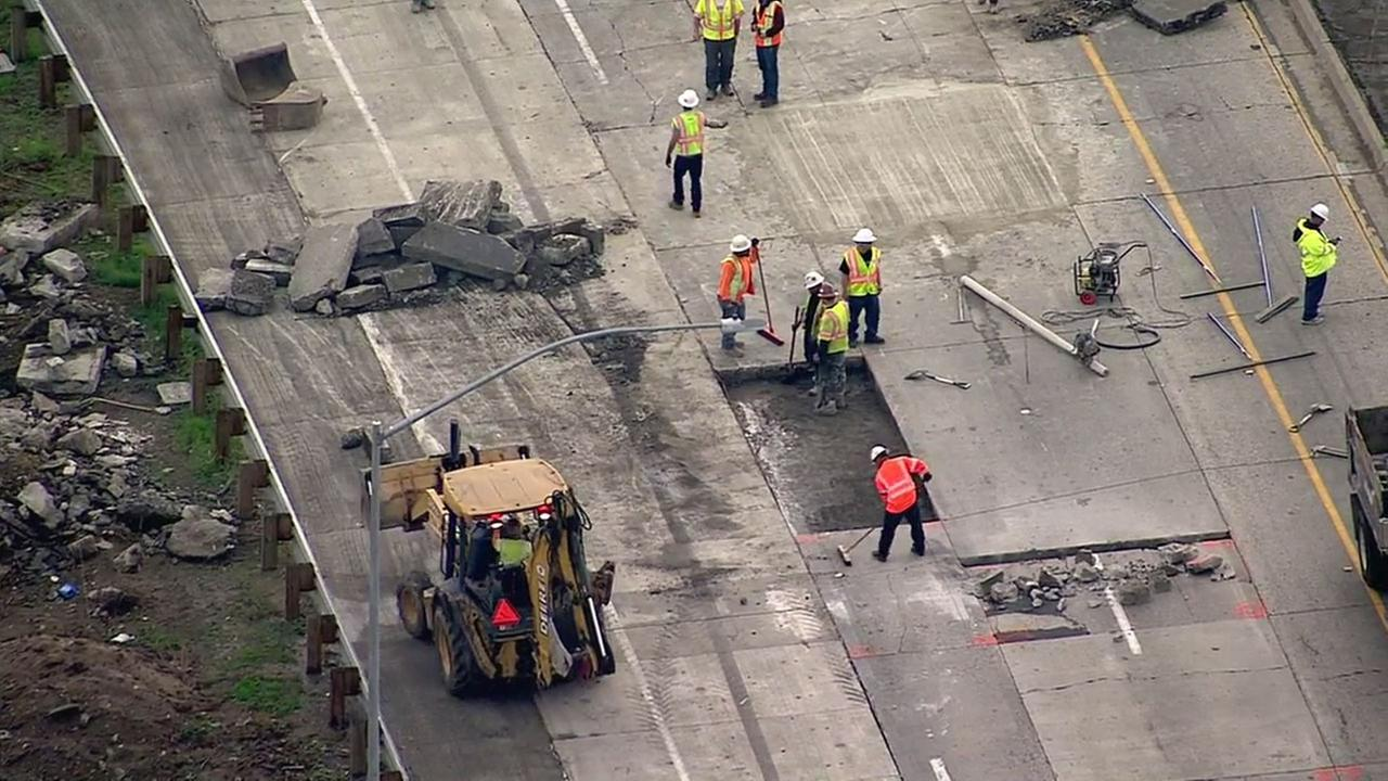 Caltrans crews worked to replace concrete slabs on the northbound 710 Freeway in Commerce near the 5 Freeway on Thursday, Jan. 5, 2017.