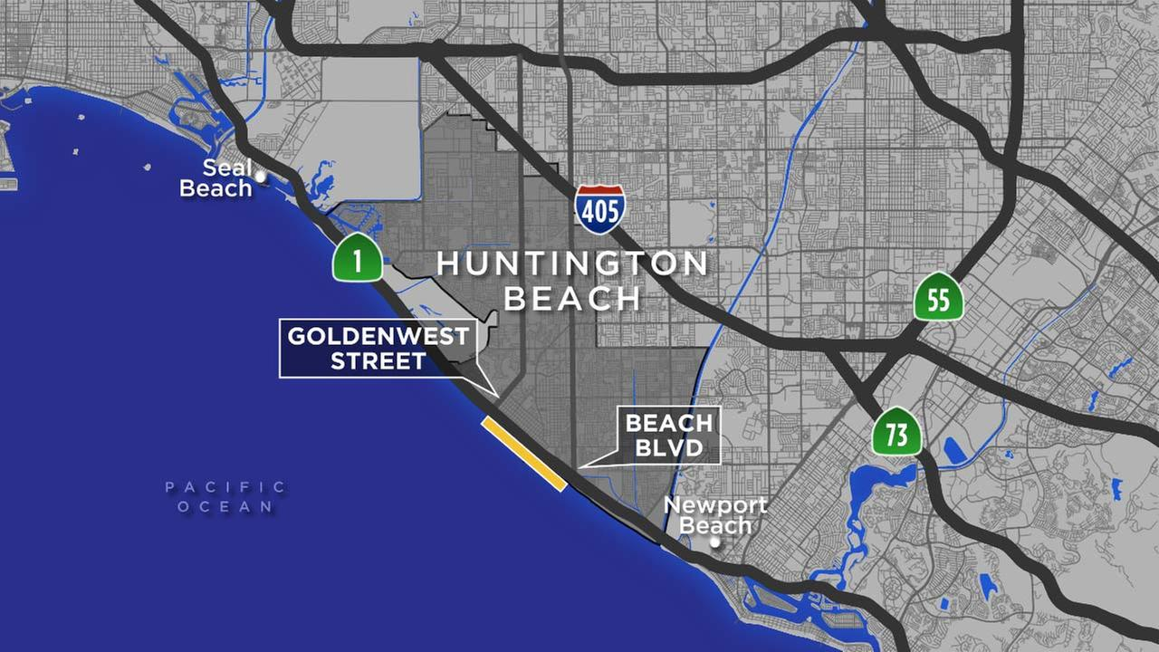 This map shows the stretch of Huntington Beach that was closed following a shark sighting.