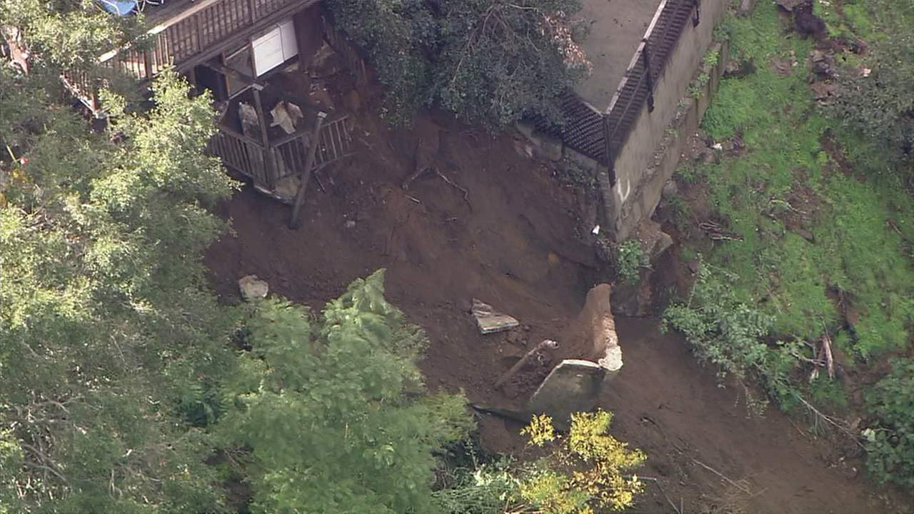 A portion of a concrete patio at a Hollywood Hills home partially collapsed on Wednesday, Jan. 11, 2017.