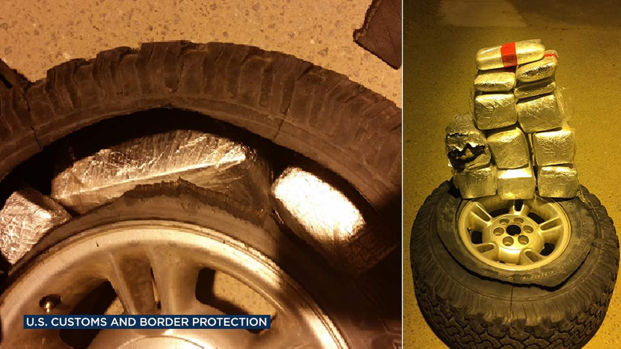 U.S. Customs and Border Protection agents discovered packages of cocaine and methamphetamine in a cars spare tire in the Salton City area on Tuesday, Jan. 10, 2017.