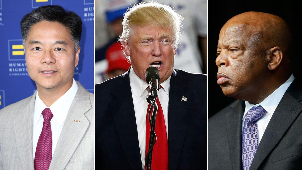 Rep. Ted Lieu (L), President-Elect Donald Trump (C) and Rep. John Lewis (R) are shown in photos.