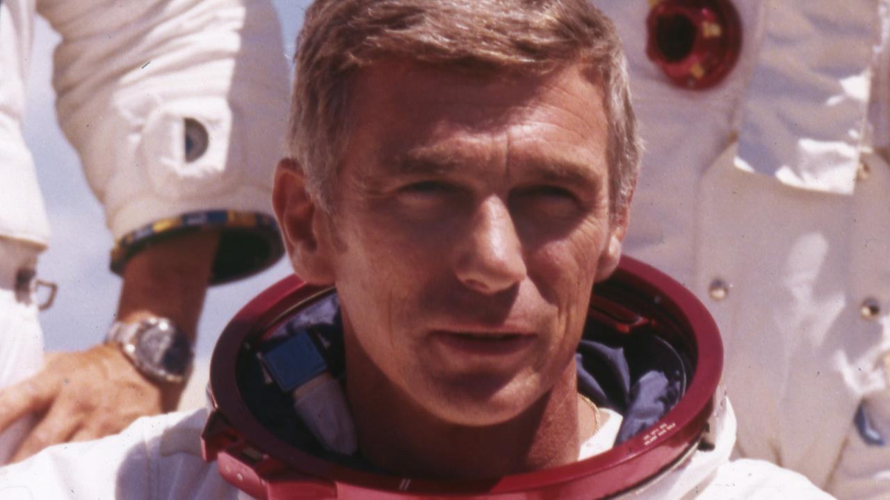 U.S. American navy commander and astronaut for the upcoming Apollo 17, Eugene Cernan, is pictured in his space suit, 1972.