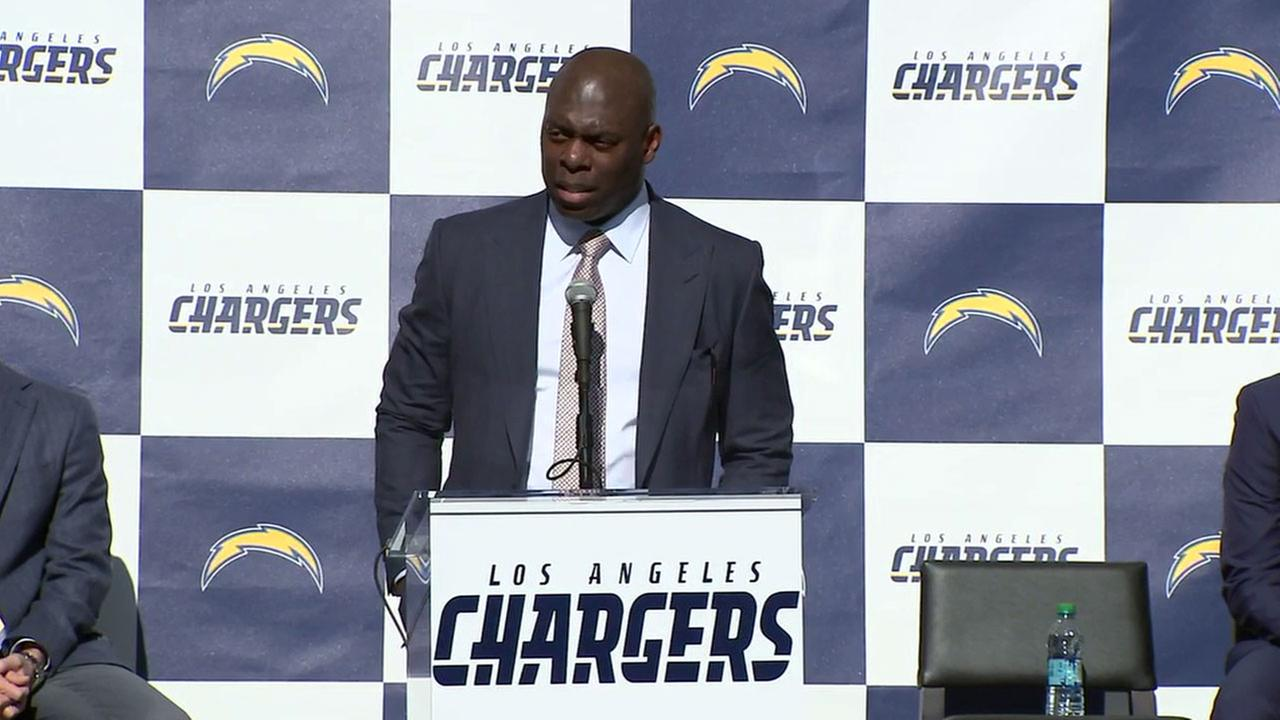 Los Angeles Chargers head coach Anthony Lynn speaks during a press conference at StubHub Center on Tuesday, Jan. 17, 2017.