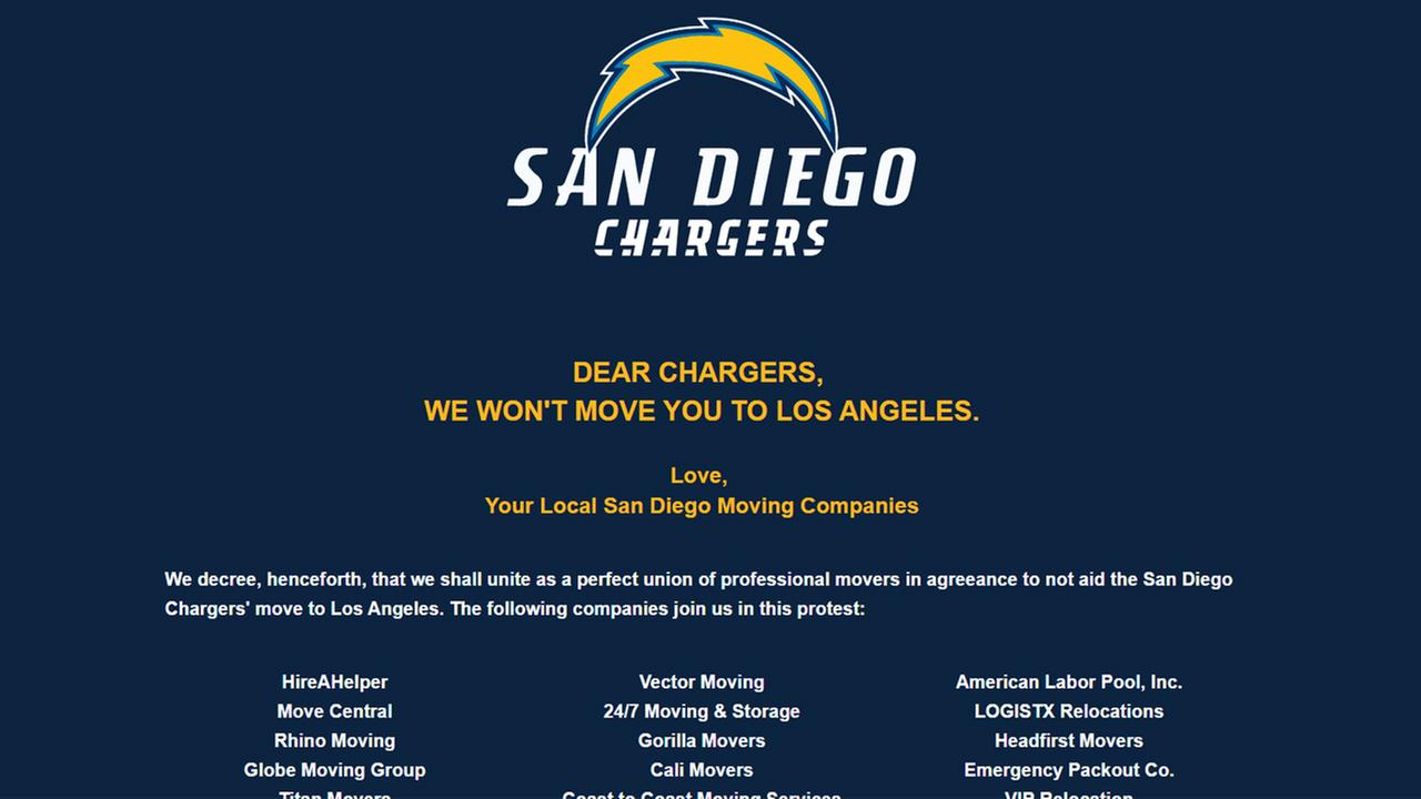 Dozens of Southern California moving companies banded together to tell the Chargers they would not help them move from San Diego to Los Angeles.