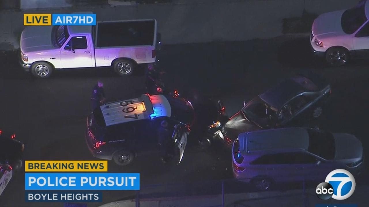 Police caught suspects in a Honda Accord in Boyle Heights after a chase from El Monte to the East LA area.
