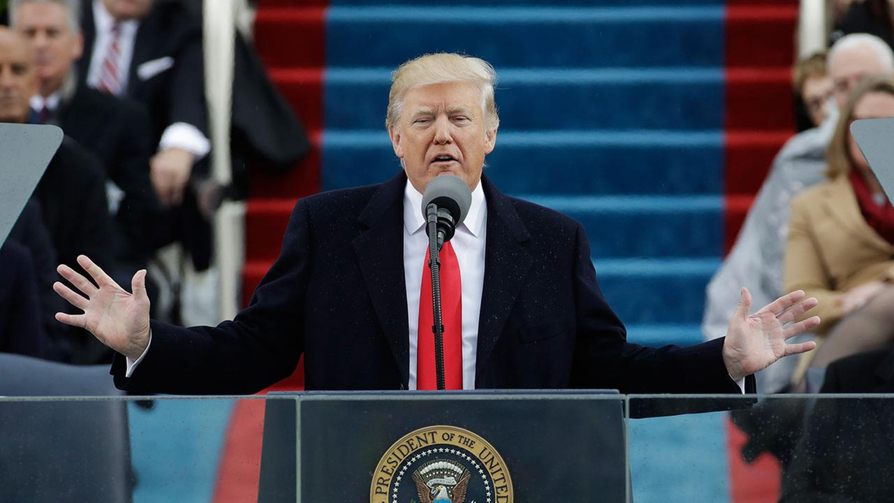 President Donald Trump delivers his inaugural address after being sworn in as the 45th president of the United States on Friday, Jan. 20, 2017.