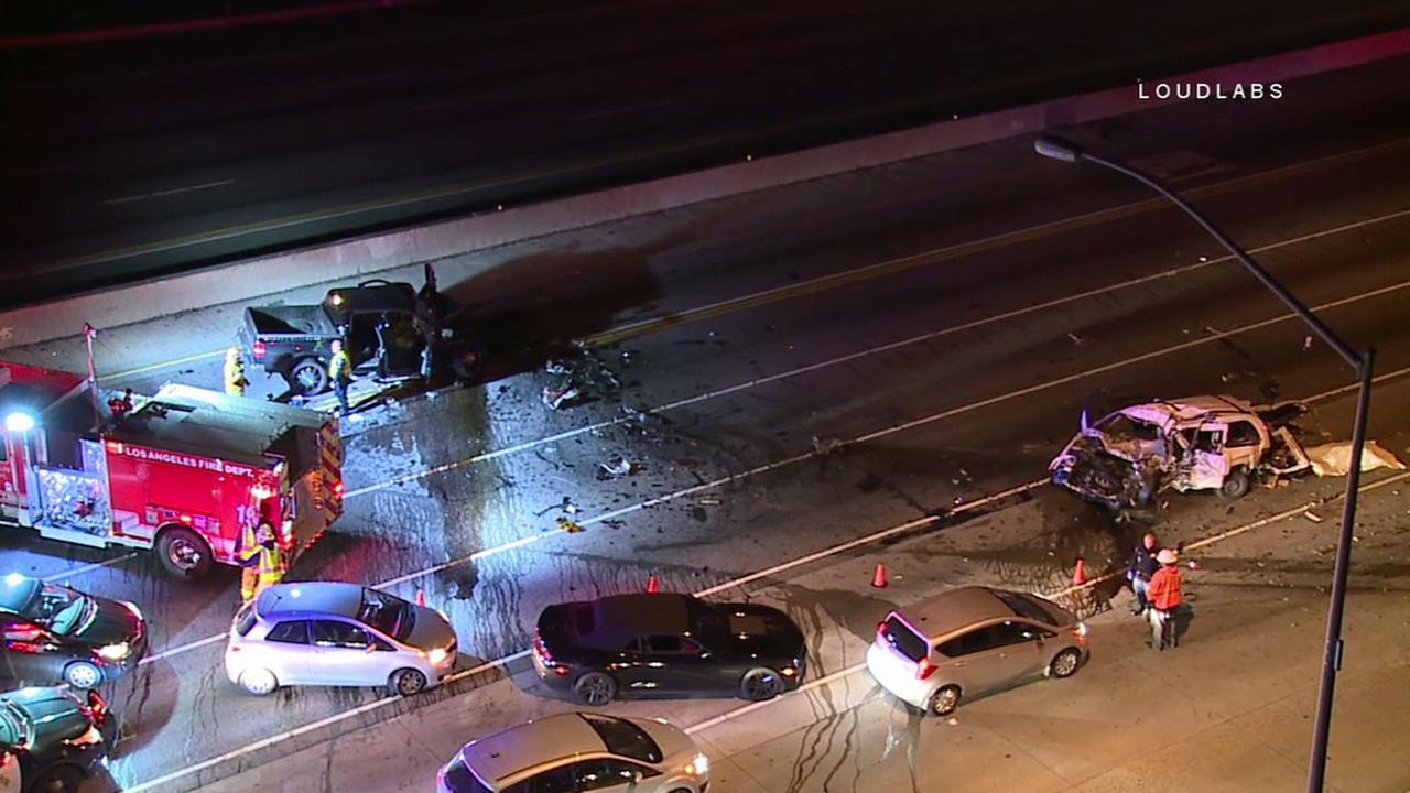 Authorities closed off all lanes of Getty Center Drive near the 405 Freeway in Brentwood to investigate a fatal car crash on Saturday, Jan. 21, 2017.