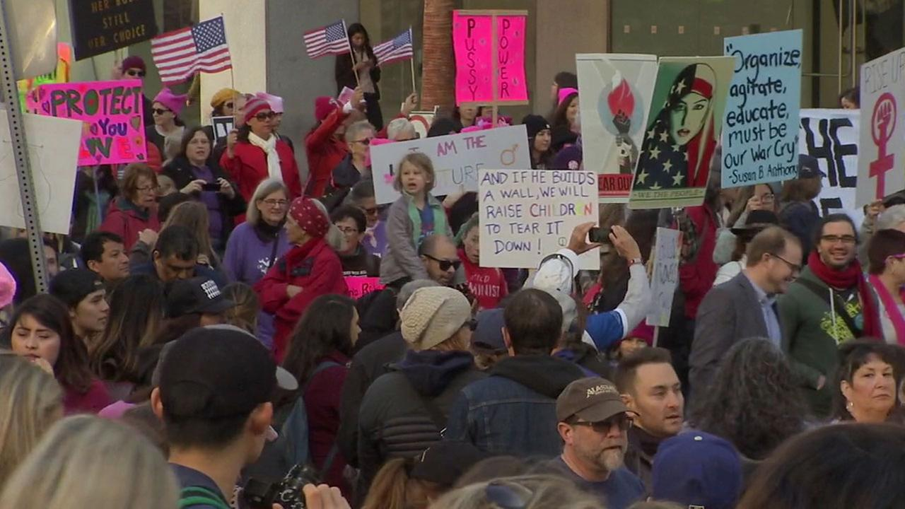 Thousands of people marched through downtown Los Angeles for the Womens March L.A. on Saturday, Jan. 21, 2017.