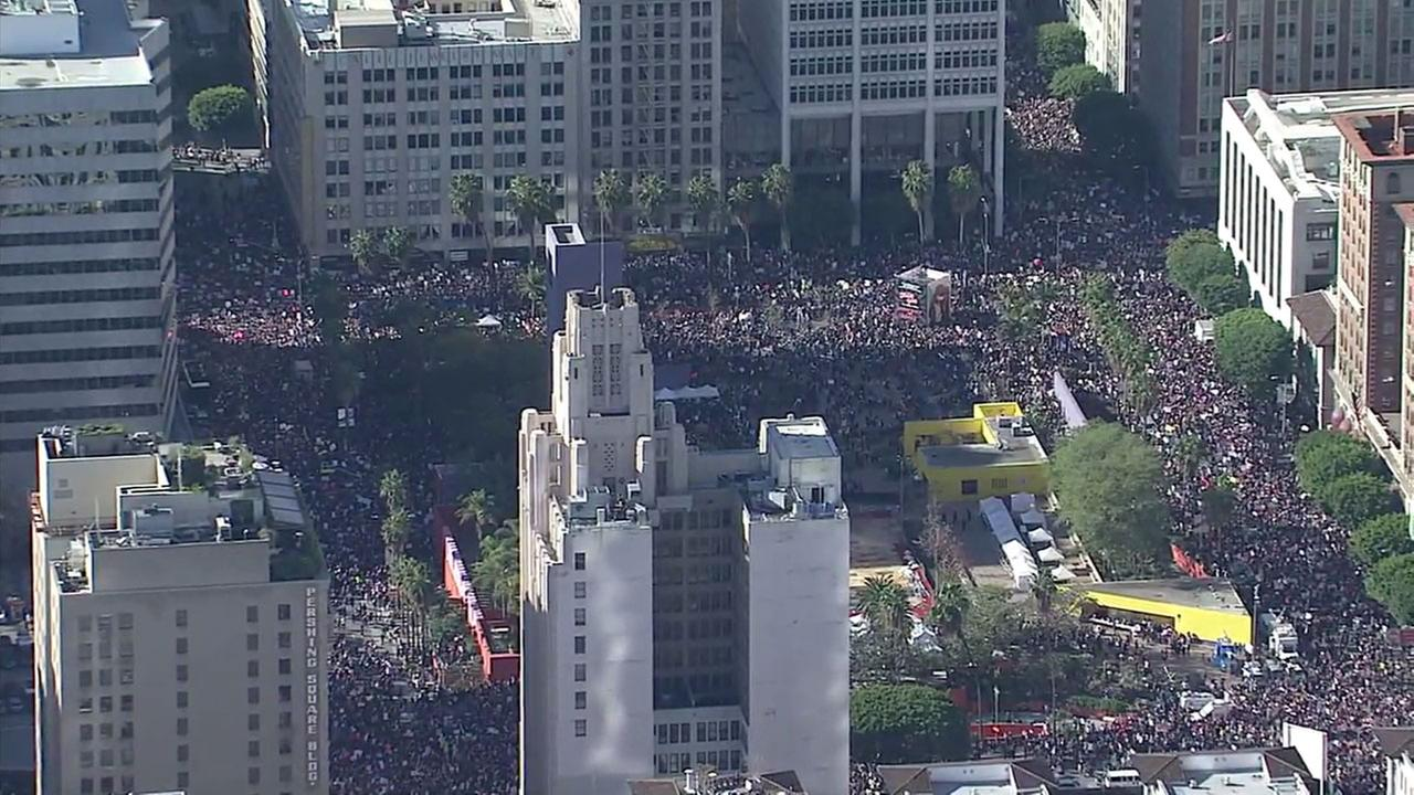 Footage from AIR7 HD shows a massive crowd of people in downtown Los Angeles for the Womens March L.A. on Saturday, Jan. 21, 2017.