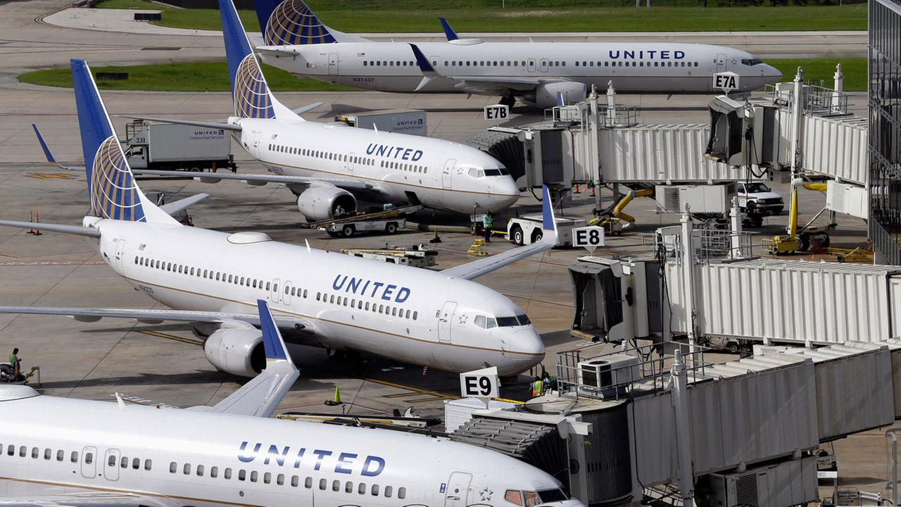 United Airlines planes are parked at their gates as another plane, top, taxis past them at George Bush Intercontinental Airport in Houston in 2008.