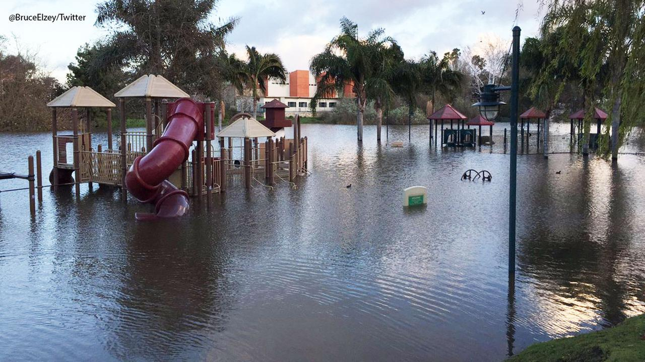 Pollywog Park in Manhattan Beach seen flooded on Monday, Jan. 23, 2017, following a major rainstorm in Southern California.