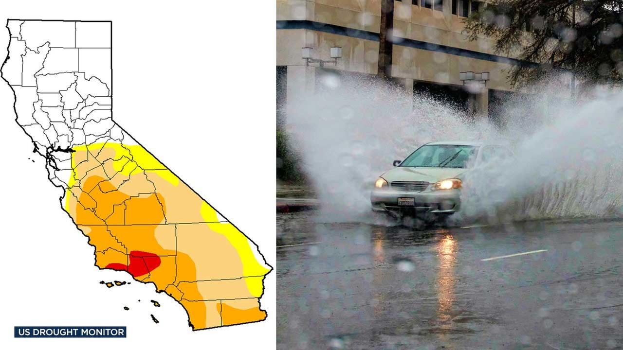 (Left) A map of California from the United States Drought Monitor. (Right) A car drives through a flooded street in Van Nuys on Sunday, Jan. 22, 2017.