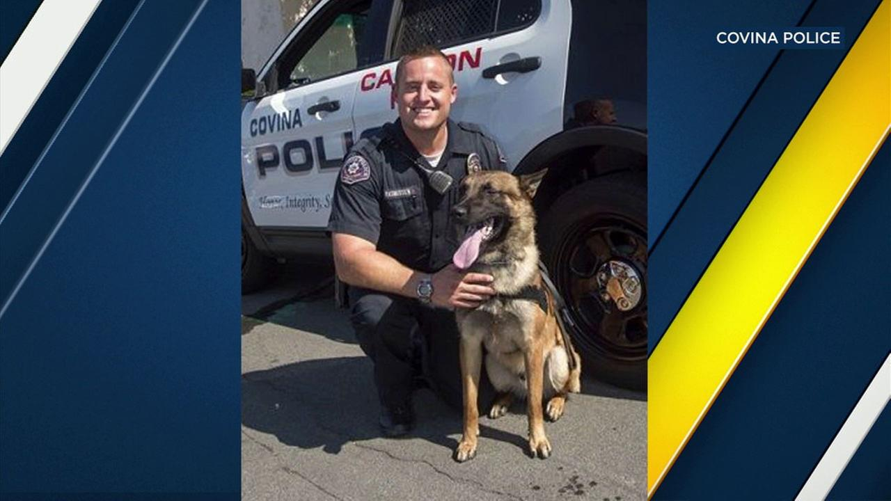 An undated photo of Covina PD Officer Ryan Rasmussen and his K-9 Jarno.