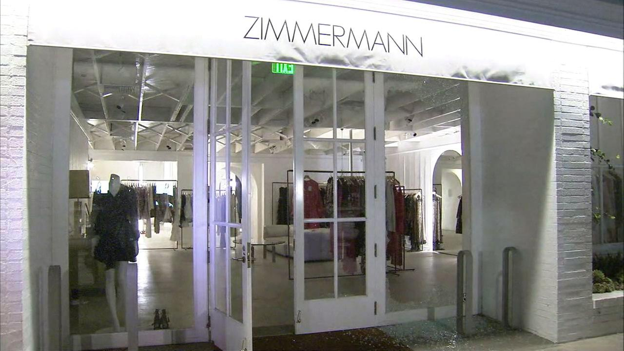 Zimmermann, a boutique along Melrose Avenue in Beverly Grove, stands with glass shattered on the floor after an overnight break-in on Wednesday, February 1, 2017.