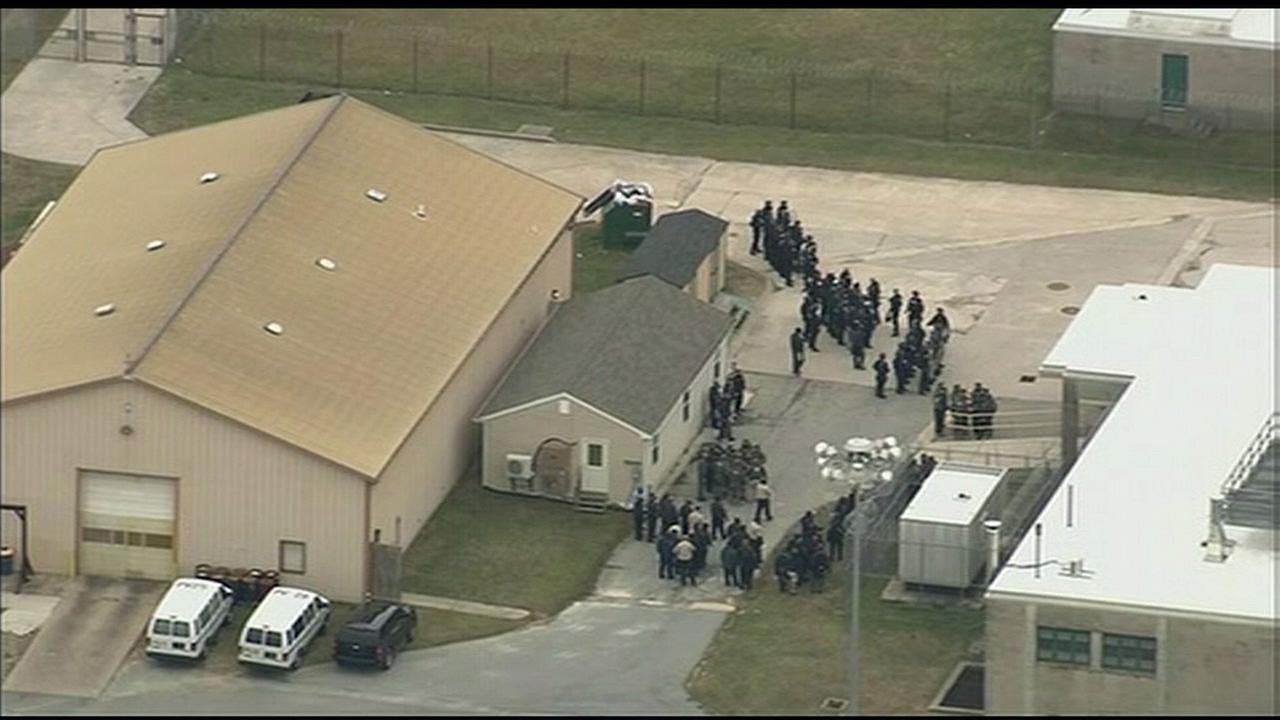 Authorities at the James T. Vaughn Correctional Center in Smyrna, Delaware, where guards were being held hostage on Wednesday, Feb. 1, 2017.