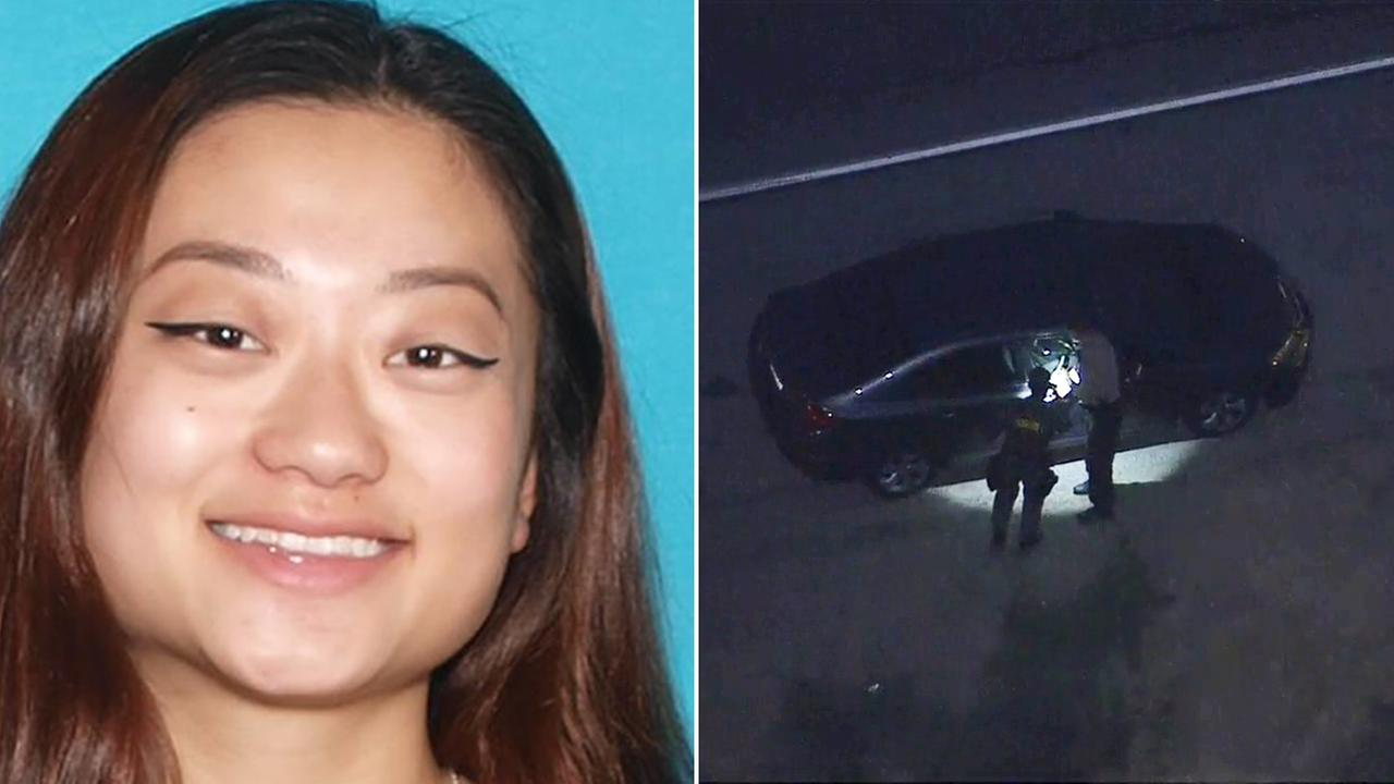 Authorities search near the car of Elaine Park in Malibu on Thursday, Feb. 2, 2017.  The 20-year-old from Glendale was reported missing on Monday, Jan. 30, 2017.