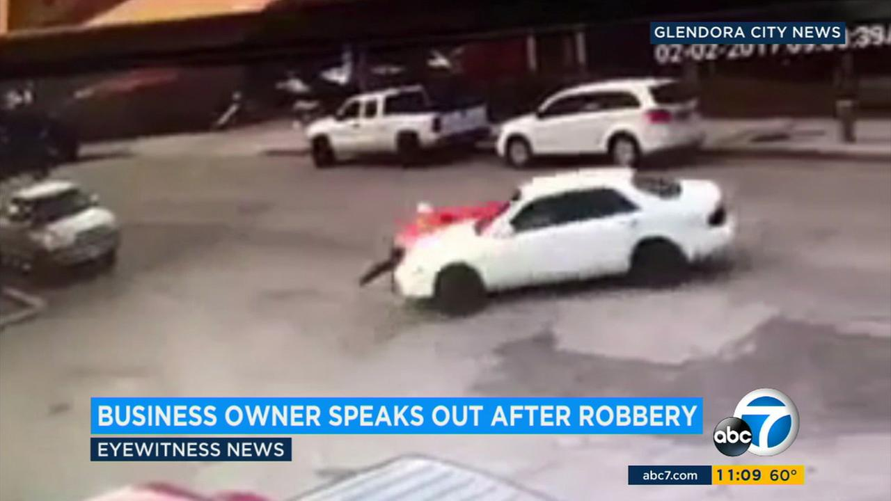 Glendora business owner, Steve Hunt, was dragged by a getaway vehicle when robbed of thousands of dollars worth of tools.