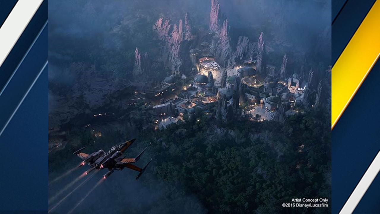 An artists concept of the planned Star Wars-themed land at Disneyland and Disney World.
