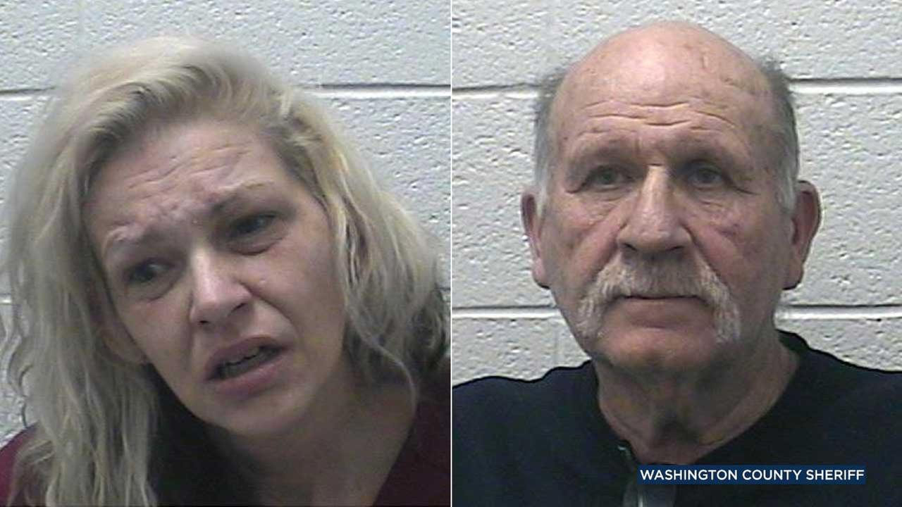 Patricia Laws, 43, and Mickey Sparks, 69, are seen in booking photos from the office of Washington County Sheriff Ed Graybeal.